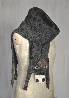 Dark gray donkey — VERY LONG scarf, animal scarf, burro, original scarf, winter accessory, warm scarf - pinned by pin4etsy.com