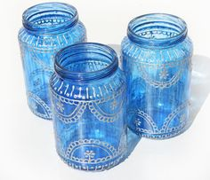 Moroccan lantern, Blue Glass recycled Baby Food Jar Lantern with silver Henna Style Accents