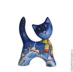 Купить Котенок в разноцветном шарфике ,дерево скульптура ручная роспись - котенок, деревянная скульптура