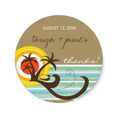 Fun Beach Holiday Thank You Gift Label Sticker