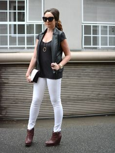 Faux Leather Vest, White Pants Spring Summer Fashion, Autumn Winter Fashion, Autumn Fashion, Black Leather Vest, White Pants, Fall Winter Outfits, Types Of Fashion Styles, Beast, Fashion Dresses