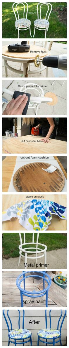 Tutorial on how to Restore Rusted Metal Chairs