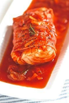 Cabillaud de coulis de tomates et au jambon de Bayonne
