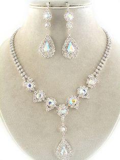 AB Swarovski Rhinestone Bridal Bridesmaid Necklace Set
