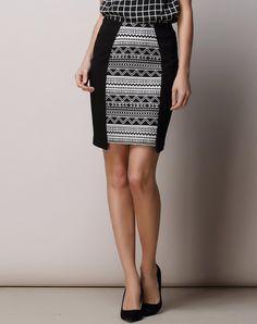 #AdoreWe #VIPme Skirts - SAINTY Black White Contrast Geometric Bodycon Midi Skirt - AdoreWe.com