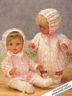 Baby Knitting Pattern PDF - Matinee coat/Jacket, Mitts, Bonnet and Booties Bebe Layette Knitting Dolls Clothes, Baby Doll Clothes, Knitted Dolls, Doll Clothes Patterns, Doll Patterns, Crochet Toys, Baby Dolls, Sewing Dolls, Baby Knitting Patterns