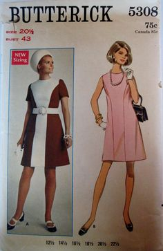 Butterick 5308 Women ALine Color Block 1960 Dress by Denisecraft, $12.99