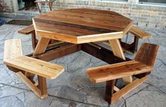 Delightful Patio Table Woodworking Plans with Bench Combo from Red Cedar Wood Boards also Textured Flagstone Paving Tiles and Rustic Brick Wall Panels from Backyard Patio Ideas