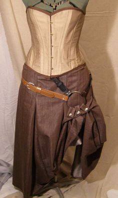 Steampunk Belted Box Pleat Skirt by corsetsandcogs on Etsy, $60.00