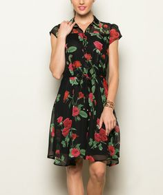 Loving this Black & Red Floral Cap-Sleeve Dress on #zulily! #zulilyfinds