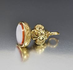 Antique Georgian Gold Sardonyx Wax Seal Watch Fob Pendant #Carnelian #9K #Pendant #Seal #Watch #Georgian #Gold #Victorian #Antique #Jet