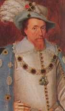 King James I (1603-1625). House of Stuart. 9th great-grandfather to Elizabeth II. Son of Mary Queen of Scots. He was descended through the Scottish kings from Robert the Bruce, and the English Tudors through his great grandmother Margaret Tudor sister of Henry VIII. Reign: 22 yrs, 3 days. Succeeded by son Charles.