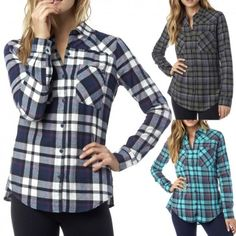 Fox Flown Long Sleeve Button Up Womens Tops Ladies Flannel Shirts