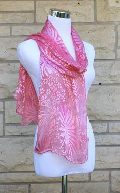 Hand Dyed Pink Devore Satin Scarf 14x72  by MJsilkaddiction