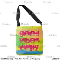 Shop Good Vibes Ony - Pink Blue Yellow Abstract Art Crossbody Bag created by ArtByLang. Art Store, Design Products, Edge Design, Good Vibes, Blue Yellow, Print Design, Abstract Art, Fashion Accessories, Crossbody Bag