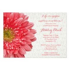 Coral Gerber Daisy and White Lace Bridal Shower Invitation.