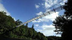 Puente colgante de O Xirimbao, sobre el río Ulla, A Coruña