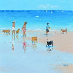 Beach painting, Dogs, Beach decor, coastal decor, beach house style, coastal living, beach home interiors, beach house decorating, beach prints.