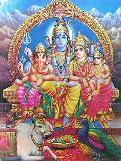 Shiva, Parvati, Kartikeya and Ganesha