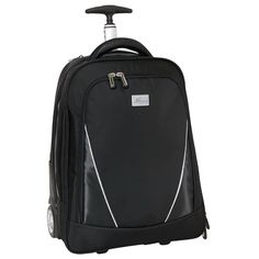 """A great business companion to use when traveling, constructed out of 1680 Denier and 420 Denier Polyester. The carry on backpack with trolley computer case comes fully equipped with a front zippered deluxe organizer and a secondary zippered compartment that contains a padded laptop pouch which holds a standard 17"""" laptop and separate tablet compartment. It also features simulated leather top handles for easy carrying, a lockable telescopic handle and more."""