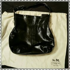 COACH PENELOPE PATENT LEATHER SHOULDER BAG MSRP:$298 Brand:Coach Model:19755M Material:Patent Leather Print/Solid:Solid Color:Black Condition:EUC Size:Medium  100% Authentic!  ***DUSTBAG INCLUDED***  Color-Black  Silver hardware Teal interior - Snap closure - Zipper compartment inside. - (L) 14 x (H) 12 x (W) 5 inches  Same or next day shipping. Coach Bags Shoulder Bags