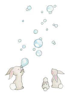 Baby Nursery Art Giclee Print, for a 10 x 8&34; frame, Bunnies & Bubbles. £15.00, via Etsy. Bubbles Illustrations, Nurseries 10, Nursery Wall Art, Watercolor Pencil, Fine Art, Baby, Children Nurseries, Free Printable, Bunnies Illustrations