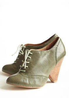 Cristina Lace Up Heels  84.99 at shopruche.com. Dress up a casual look with these gorgeous olive-toned heels with sage laces. Featuring scalloped detailing and a stacked wooden heel.Leather upper and lining, Imported, 3