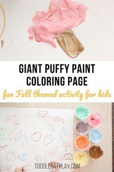 This Giant Puffy Paint Coloring Page is super easy and quick to prep + it's Autumn themed making it perfect for this time of year! All you need is to prep Activities For 2 Year Olds, Indoor Activities For Kids, Preschool Activities, Crafts For Kids, Puffy Paint, Crafty Kids, Creative Play, Autumn Theme, Kids Learning