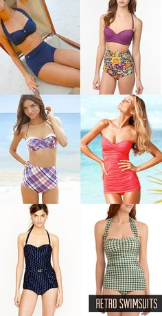 Vintage bathing suits - Love the top right hand floral print bottom