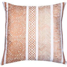 The Bandhini Home Paths throw pillow offers graphic allure to contemporary spaces.  Rows of unique pattern create a stunning visual effect in a rich copper hue…