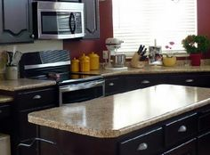Faux granite countertops lowes are faux countertops you can create by buying countertops from Lowes and paint them to make them look like granite countertops. Bathroom Cost, Budget Bathroom Remodel, Kitchen Remodel, Beautiful Kitchen Designs, Beautiful Kitchens, Home Design Decor, Diy Home Decor, Design Ideas, Faux Granite Countertops
