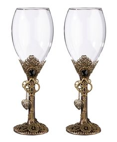 Steampunk Wine Glass Set - Wedding Toasting Flutes - Toasting Flutes-Cake Server - Wedding Essentials - Wedding Favors & Party Supplies - Favors and Flowers