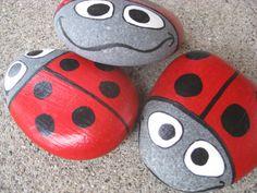 Ladybug Garden Stone  hand painted Lake Superior Basalt