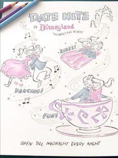 Disneyland park art print, date nite, gift, disney park, disney rides Vintage Newspaper, Disney Rides, Park Art, Disneyland Park, Art Prints Quotes, Disney Fan Art, Watercolor And Ink, Cool Artwork, Cute Art