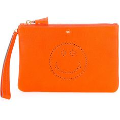 Anya Hindmarch Smiley zipped clutch (£170) ❤ liked on Polyvore featuring bags, handbags, clutches, orange, orange clutches, zipper handbags, orange purse, anya hindmarch and anya hindmarch purse