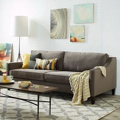"""Paidge Sofa - Grand #westelm Overall product dimensions: 86.5""""w x 40.5""""d x 34.5""""h. Seat depth: 20"""". Interior seat width: 78.5"""". Back height: 30.75"""". Clearance: 6"""". Diagonal depth: 30.5"""". Cone leg: round taper; Tapered leg: square taper."""