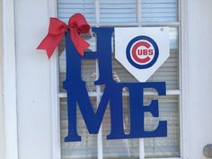 Chicago Cubs HOME Door Hanger by WhimsEchols on Etsy. Could totally make this - for mom. http://www.giftideascorner.com/christmas-gifts-mom/