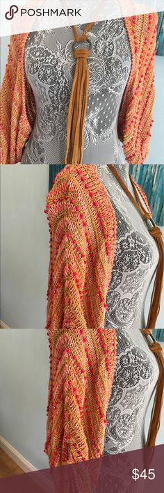 Anthropologie Beaded Shrug Exquisite beaded shrug! Beautiful shades of coral! Perfect for an extra layer on a cool beach night! Size M/L 100% Cotton Anthropologie Sweaters Shrugs & Ponchos