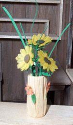 Raffia vase with sunflowers tutorial