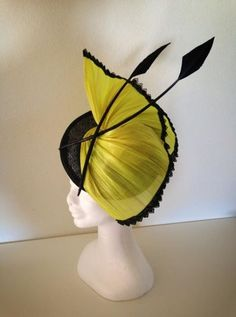Black Sinamay and Fluro Yellow Silk Abaca Fascinator BY LUCY HOOLIHAN #millinery #HatAcademy