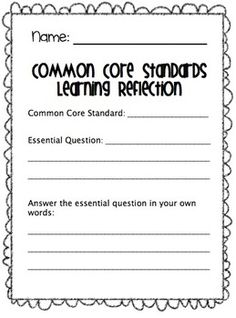 Common Core Student Portfolio and Reflection! Great for tracking common core