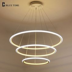 check price new modern 3 circle rings led pendant lights for living room dining room led lustre pendant #engraved #ring