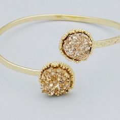 Rose gold faux Druzy gold cuff bracelet New! Stunning! Gold tone cuff bracelet with light rose gold tone druzy style beads.  This is not from my handmade Druzy style collection. Bundle and save 15%. No trades. 💛Price firm if not bundled💛 Jewelry Bracelets