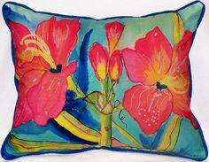 Amarillis Indoor Outdoor Pillow: Coastal Home Decor, Nautical Decor, Tropical Island Decor & Beach Furnishings