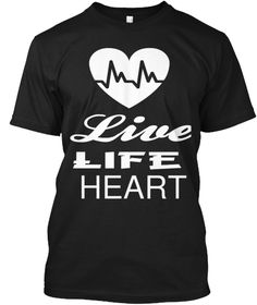 Live Life Heart Black T-Shirt Front