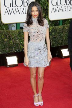Thandie Newton arrived in a Giles short beaded dress with peep-toe heels.