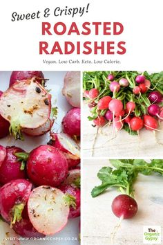 Roasting radishes is a new found love! They change from sharp peppery things to crispy sweet delicious things. Roasting them with their greens on are so absolutely yummy. So odd that I have never heard of roasting them before. Perfect side-dish to most meals! Radish Recipes, Raw Food Recipes, Health Benefits Of Radishes, Healthy Tips, Healthy Recipes, Roasted Radishes, Vegetarian Paleo, Vegan Food, How To Make Pesto