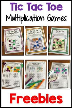 FREEBIES - Facts Tic Tac Toe Math Games Freebie from Games 4 Learning combines the fun of Tic Tac Toe and with practice of basic multiplication facts. It includes 3 Tic Tac Toe Multiplication Game Boards and 1 Print and Play Game Sheet. Math Fact Fluency, Teaching Multiplication, Teaching Math, Multiplication Strategies, Math Fractions, Fluency Practice, Math For Kids, Fun Math, Activities For Kids