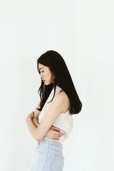 리본탑 style fashion high waist Jean