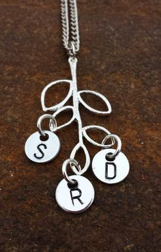 Custom made metal stamped jewelry -family tree, tree branch, mother, grandmother, initials - https://www.etsy.com/listing/178046309/hand-stamped-jewelry-the-family-tree